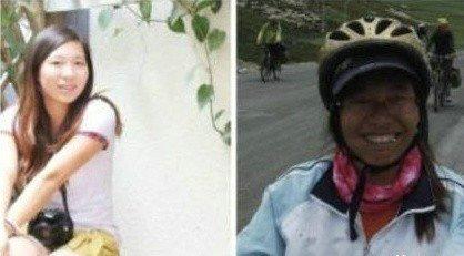 一名帅小伙骑行西藏前后照片最近在网上疯传