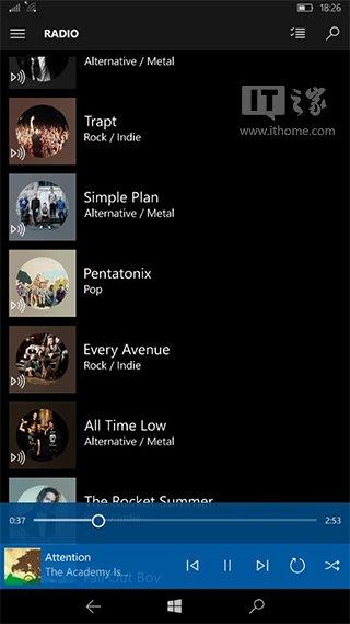 微软将提升Win10 Mobile《Groove音乐》应用内播放控制
