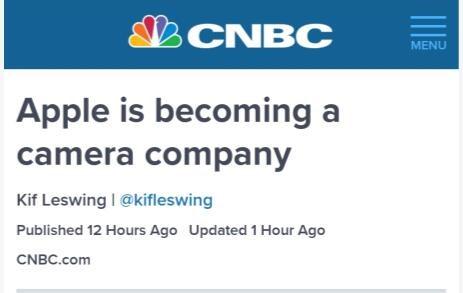 CNBC:苹果正在变成一家相机公司 手机相机冲击传统相机
