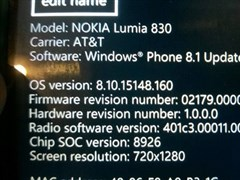 AT&T版Lumia830收到新固件更新,并非Win10 Mobile