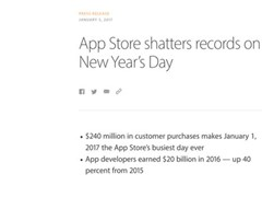 Odd-numbered days 240 million U.S. dollor! 2017 new year's day sale of malic App Store is record-br