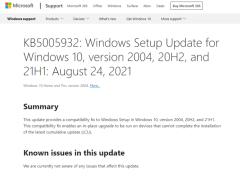 微軟為 Win10 推送 KB5005932 補丁,修復無法安裝累積更新 Bug