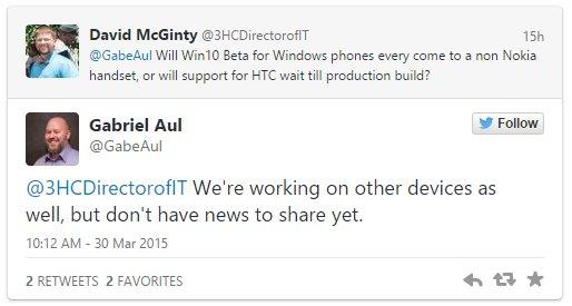 微软:我们正努力让Win10手机版支持非Lumia设备