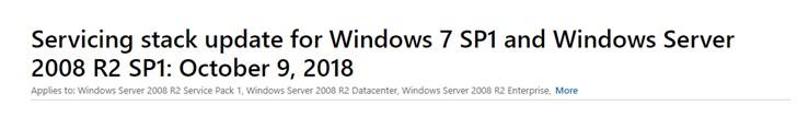 微软推送Windows 7/8.1累积更新KB4462923、KB4462926