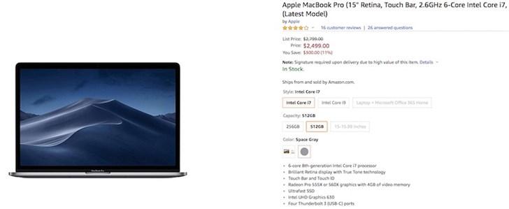 2018款苹果MacBook Pro等新品上架亚马逊 部分提供折扣
