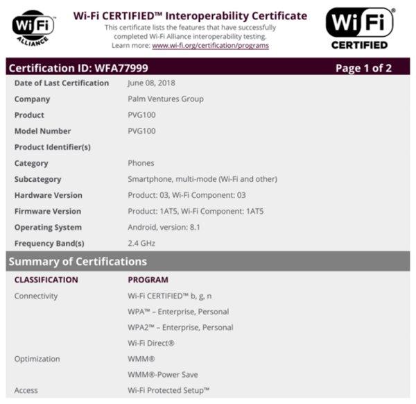 Palm智能手机通过FCC认证 型号为PVG100