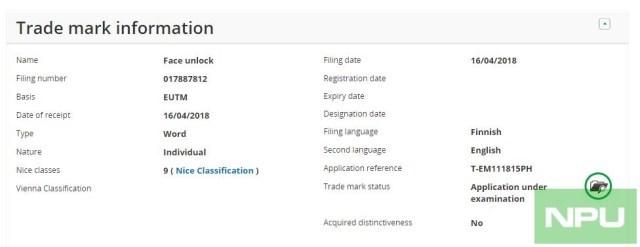 为诺基亚新旗舰准备:HMD注册Face Unlock商标