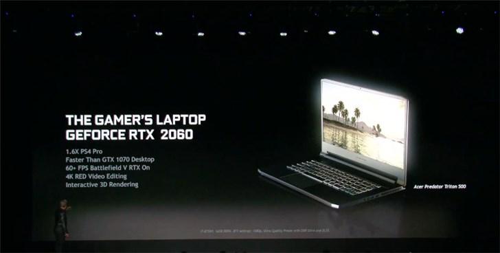 英伟达RTX 2060移动版发布 GPU性能超过GTX 1070桌面版