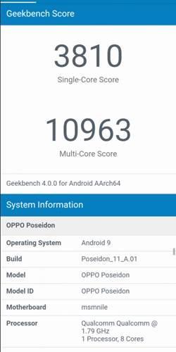 OPPO骁龙855新机Geekbench跑分曝光 多核成绩为10963