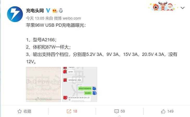 苹果16英寸Mac*ook Pro有望采用96W US* PD充电器