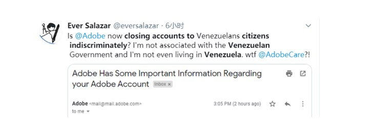 Adobe将中止委内瑞拉的账号和服务 不进行销售/退款等服务