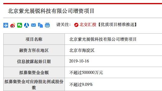 紫光展锐拟增资50亿元 对应持股比例或股份数不超9.09%