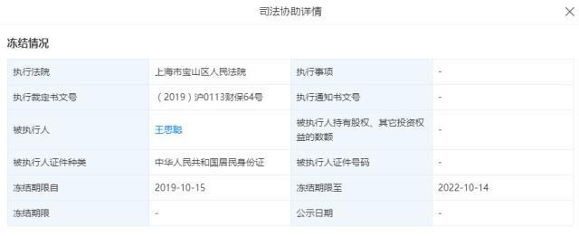 王思聪普思资本股权遭冻结  名下冻结股权价值合计已超8445万元