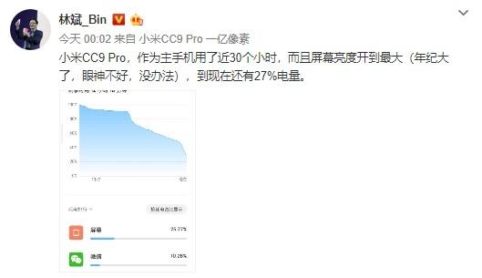 林斌体验小米CC9 Pro:使用近30个小时剩27%电量