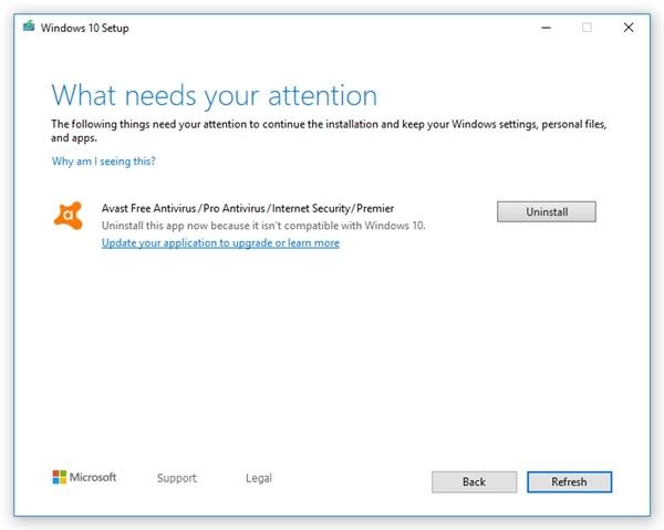 微软Windows 10 v1909再发不兼容公告:老版Avast/AVG杀
