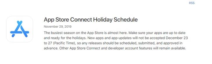 苹果提醒iOS App开发人员12月23日至12月27日将不接
