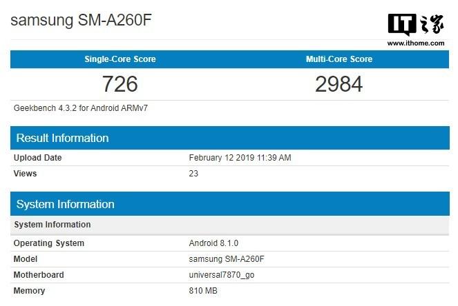 三星Android Go新机曝光:Exynos 7870处理器,1GB内存