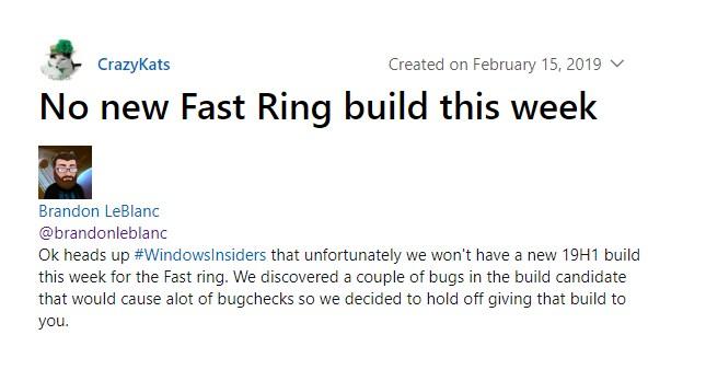 这一周没有新的Windows 10 Insider快速预览版:还是