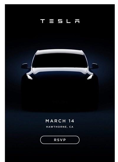 特斯拉Model Y邀请函发布:3月14日见