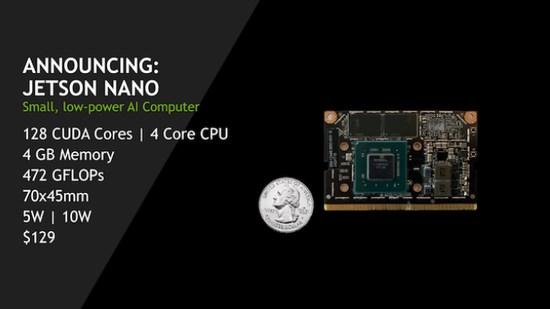 英伟达发布Jetson Nano迷你AI计算机 搭四核Cortex-A57处理器