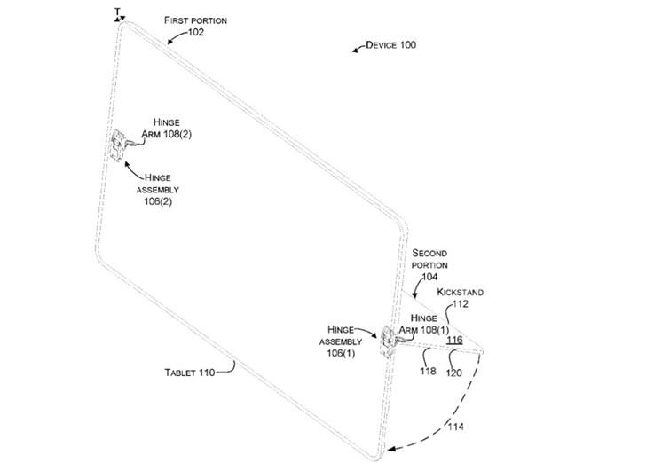 微软新专利:暗示Surface Pro 7将用上全新铰链支架,还可用于双屏设备}