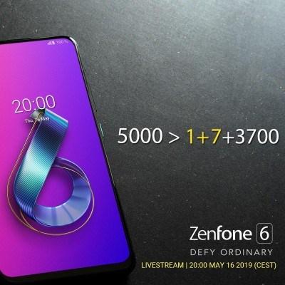 5000>1+7+3700,华硕Zenfone 6宣传海报剑指一加