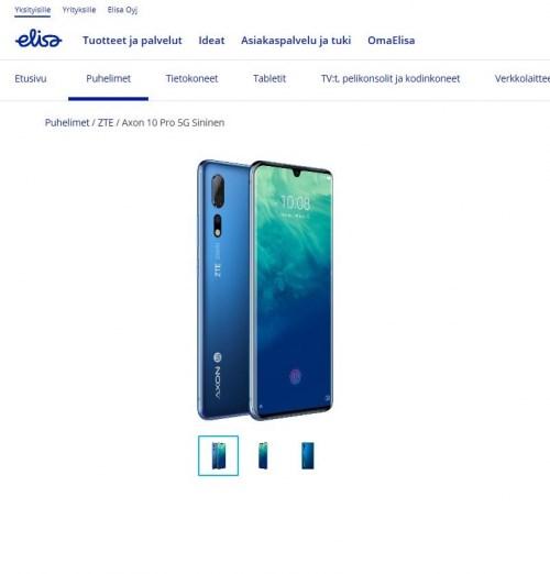 中兴在芬兰销售首款5G智能手机Axon 10 Pro 5G