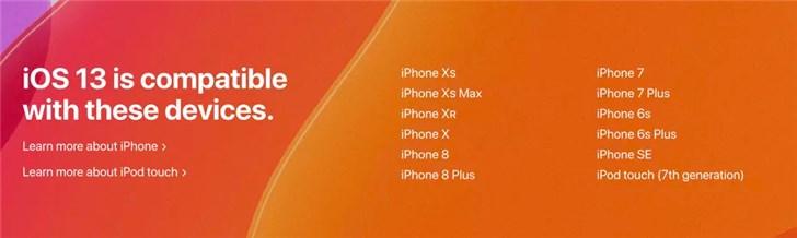 WWDC19:iOS 13/iPadOS支持机型速览