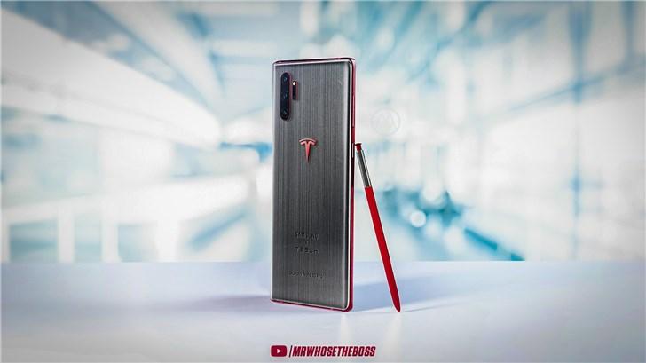 三星Galaxy Note10 Pro特斯拉联名版渲染图曝光:红灰