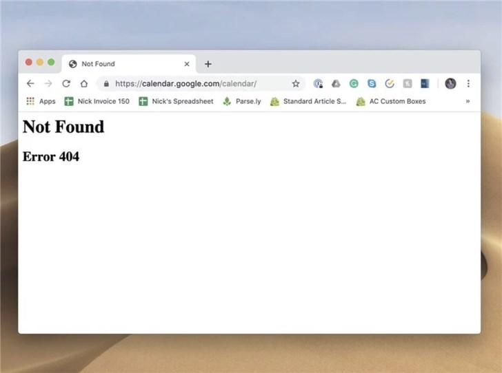 谷歌日历出现故障:持续数小时,目前尚未恢复