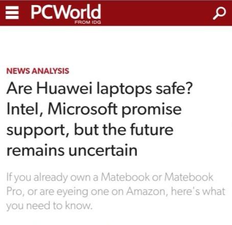 外媒:英特尔、微软承诺继续向华为PC提供支持