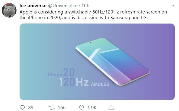 爆料:2020款iPhone 11s 将采用120Hz刷新率屏幕