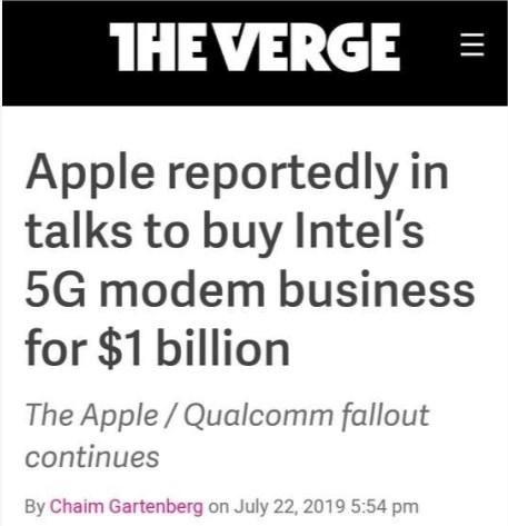 蘋果計劃買下英特爾5G基帶業務 與高通和解成原因