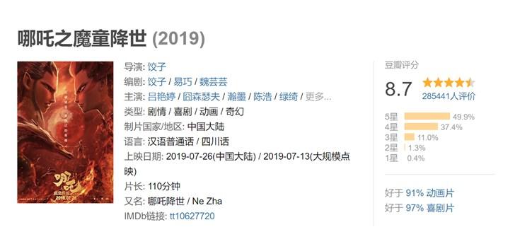 国产动画电影《哪吒之魔童降世》IMAX 3D版首周票房超5400万元-第3张图片