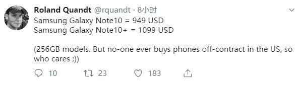 三星Note 10最新售价信息曝光,价格比去年还低一