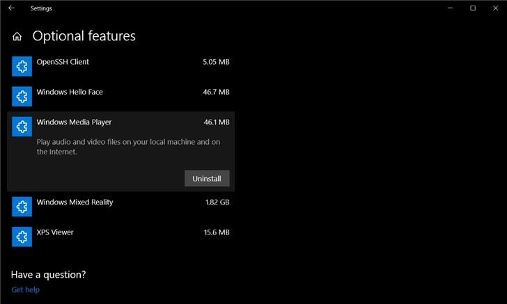 """微软Windows 10 20H1""""可选功能""""设置页面新变"""