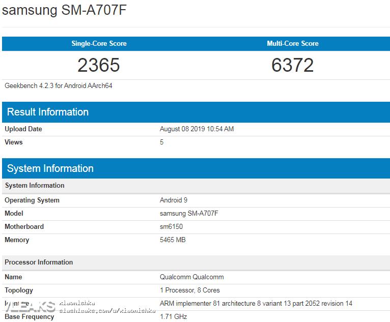 三星首款6400万像素新机Galaxy A70s现身Geek*ench