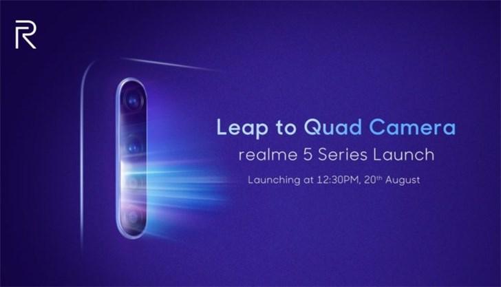 外媒:realme 5系列手机更多配置曝光,8月20日发布