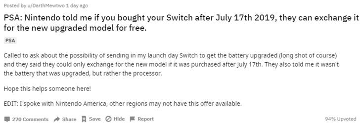 美国任天堂将为7月17日后购买Switch用户免费升级高续航版本