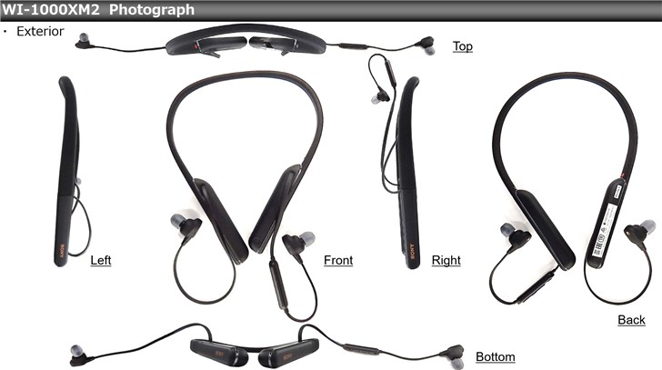 索尼颈挂式降噪耳机二代WI-1000XM2曝光 支持蓝牙5.0连接