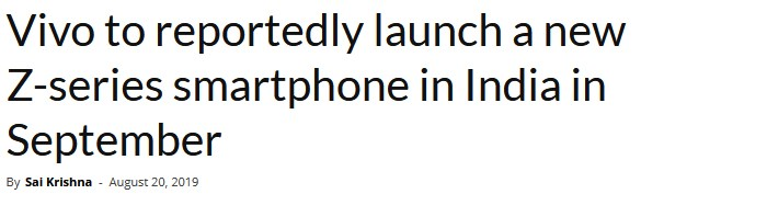 vivo將于9月在印度推出新款Z系列智能手機