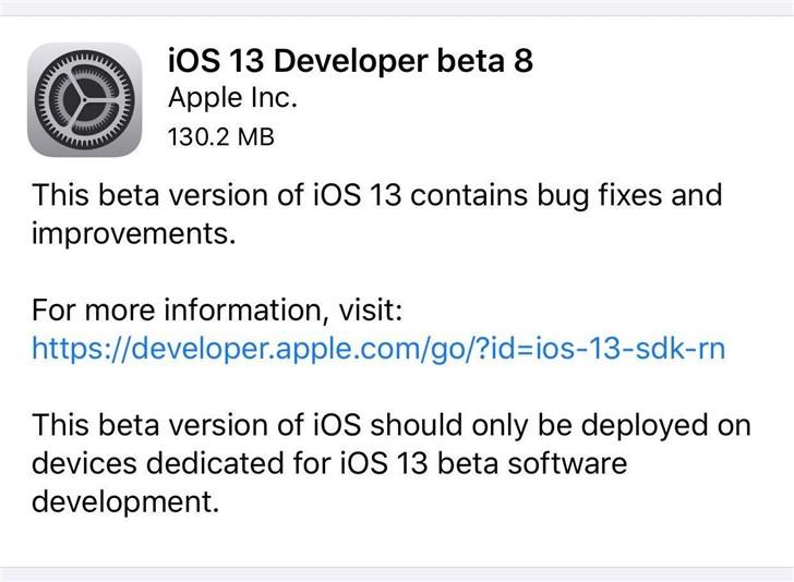 苹果iOS 13/iPadOS 13开发者预览版*eta 8正式推送