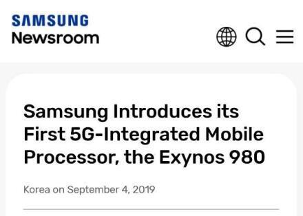三星发布首款集成5G的处理器Exynos 980