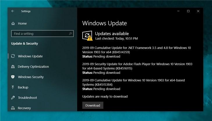 微软2019 Windows 10更新五月版9月份补丁累积更新推送