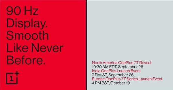 官方宣布一加7T将于9月26日正式发布:搭载90Hz屏