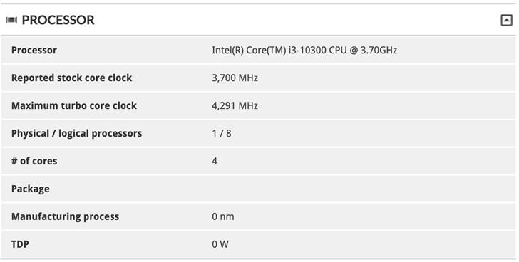 英特尔i3-10320现身:4核8线程,超i7-7700 9%