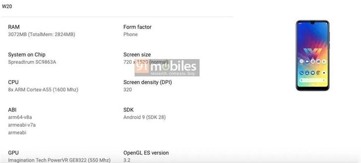 LG W20手机配置曝光,搭载紫光展锐虎贲SC9863A芯片