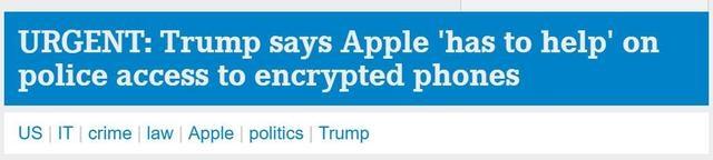 """特朗普:苹果""""必须帮助""""警方获取加密手机信息"""