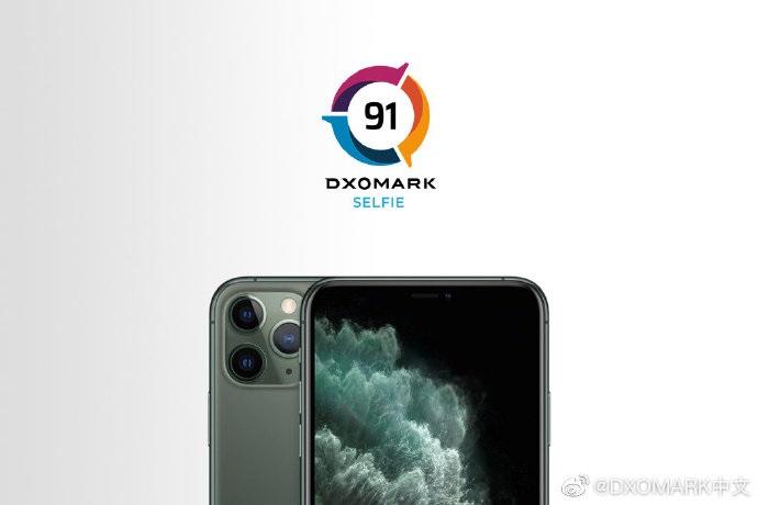 DXOMARK:苹果iPhone 11 Pro Max前置摄像头91分,排名第