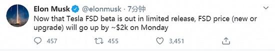特斯拉CEO马斯克:测试版限量发布后,FSD价格将上涨约2000美元